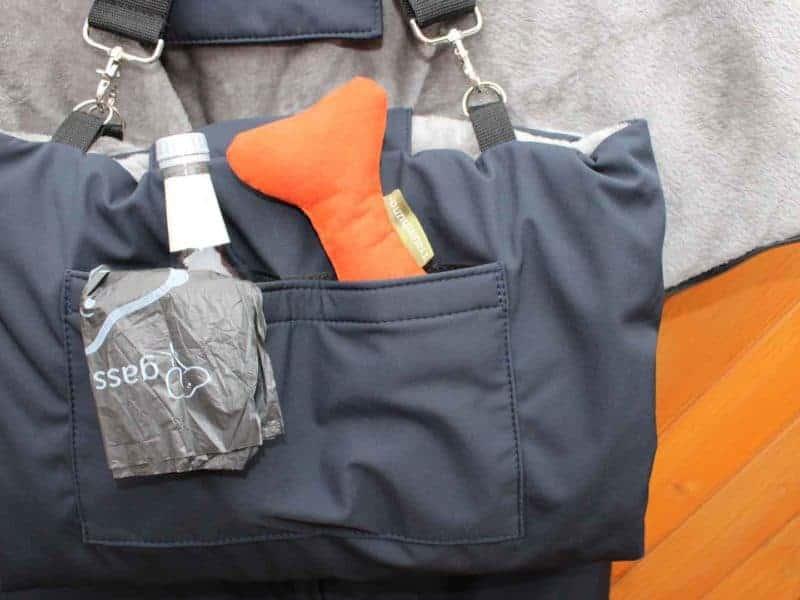 Traumhund® Picknick: Outdoordecke und Tasche Marine Silbergrau Zusatztasche