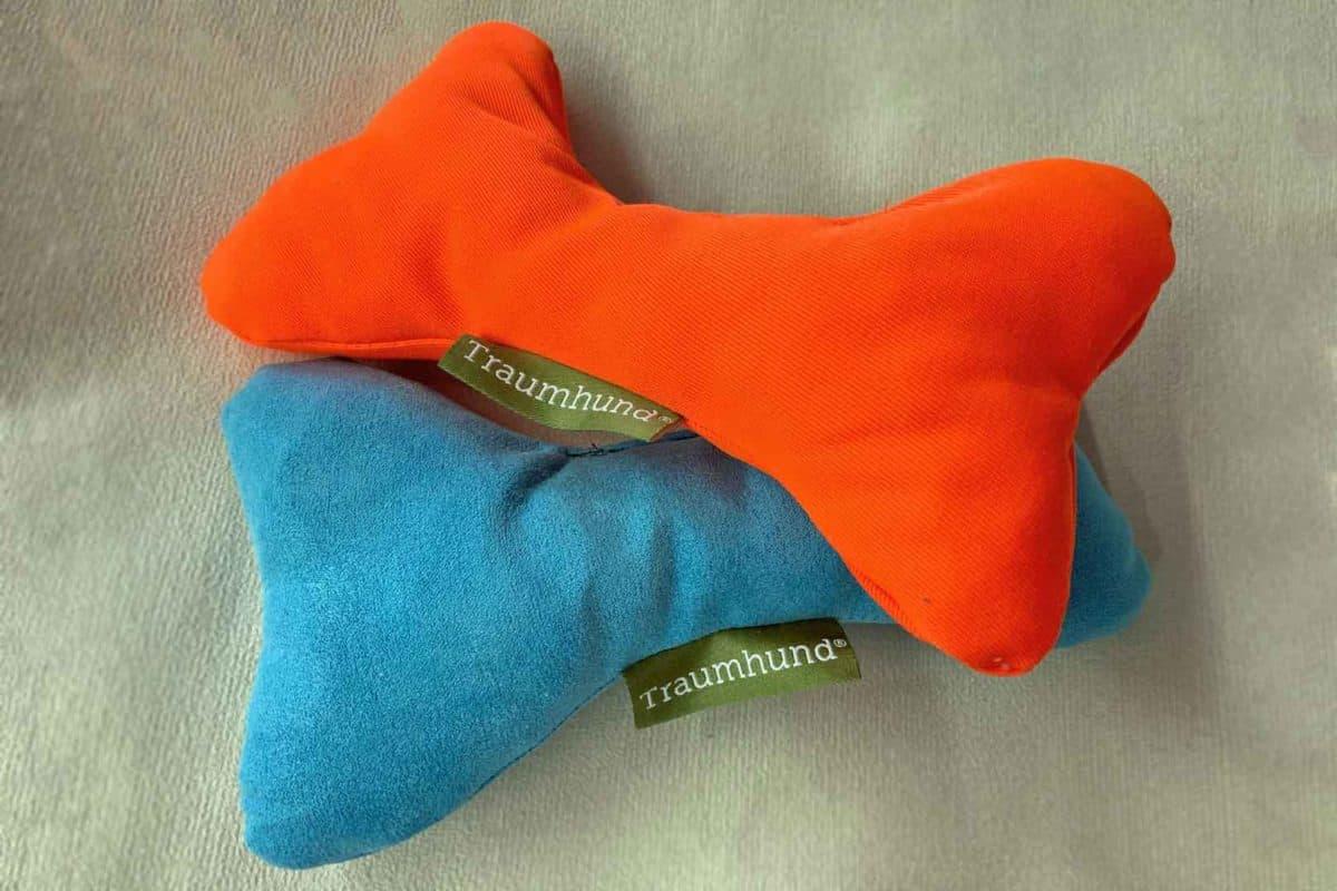 Hundeknochen Organic 95 Leuchtorange Hellblau