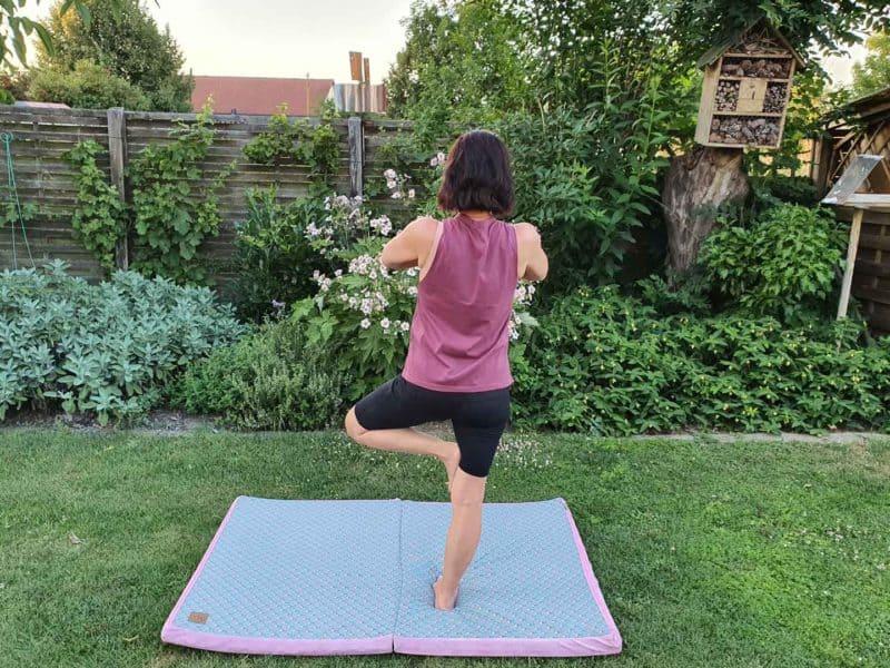 Reise-Klappmatratze Lüfter Blau und Pink für Yoga