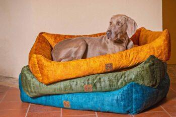 Hundebett Vintage-Samt Farbübersicht mit Weimaraner