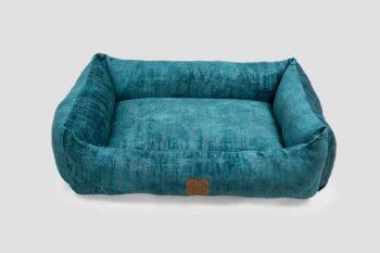 Hundebett Vintage-Samt in Royal-Blau freigestellt